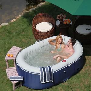 Avis et test du spa gonflable ospazia 2 places ovale bleu spa gonflable - Jacuzzi gonflable 2 places ...
